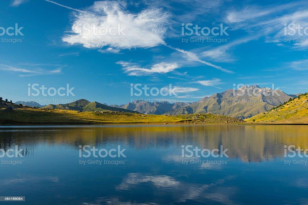 Sport mountain, lake Piedrafita. stock photo