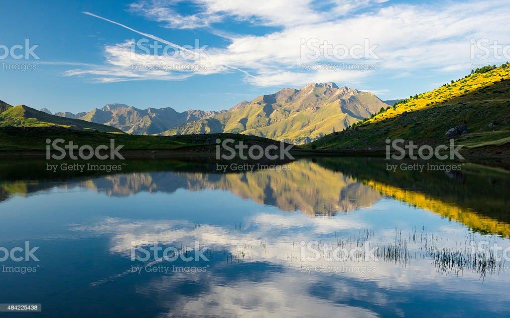 Sport mountain, lake Piedrafita stock photo