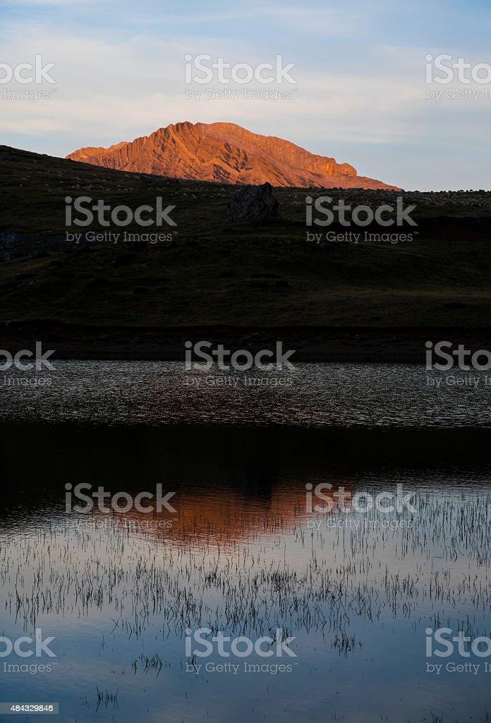 Sport mountain, lake Piedrafita, Pyrenees stock photo