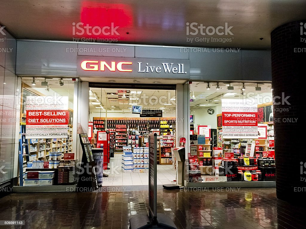 GNC Sport nutrition Shop inside of Bus Terminal, New York