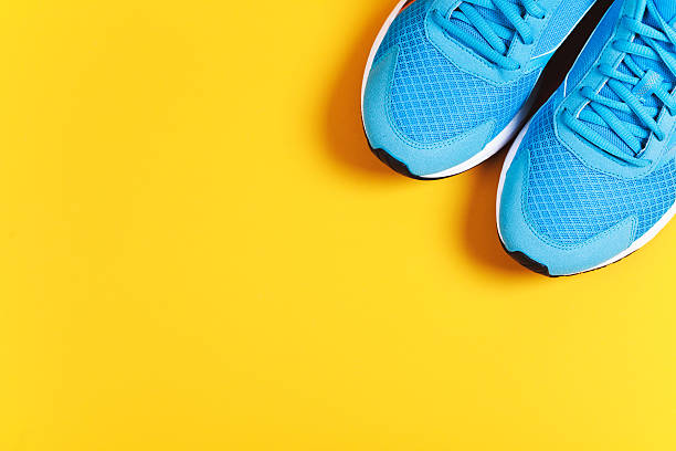 sport objects background - running shoes stockfoto's en -beelden
