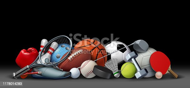 Sport objects on black and sports equipment with a football basketball baseball soccer tennis and golf ball and badminton hockey puck as recreation and playing a leisure activity with 3D illustration elements.