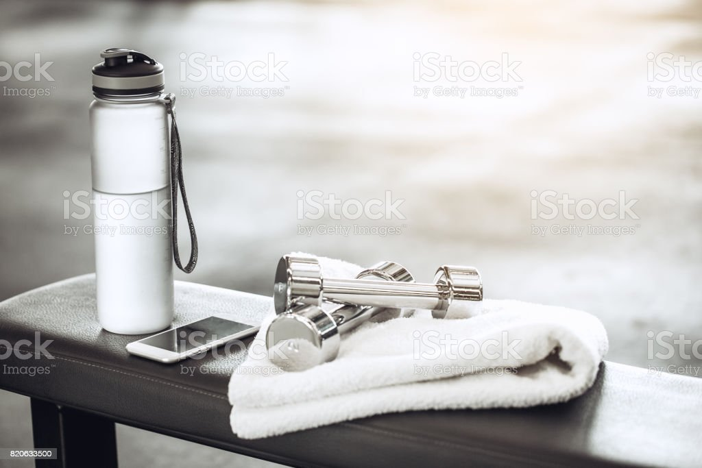 Sport oblects equipment isolated in the fitness center stock photo