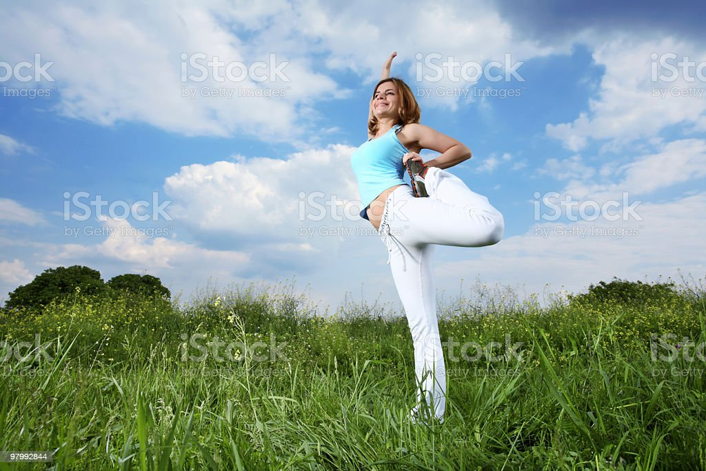 Sport on the meadow. royalty-free stock photo
