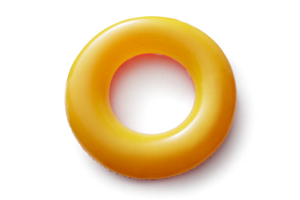 Sport: Orange Inflatable Ring Isolated on White Background stock photo