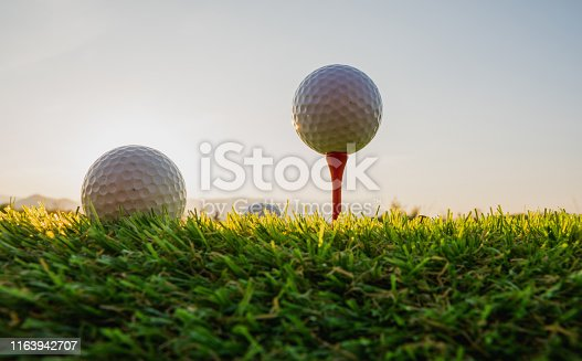 sport outdoor, golf ball on tee pegs ready to play in the green grass and light shines sunset