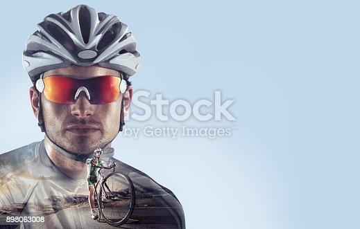 istock Sport. Professional road cyclist portrait. 898063008