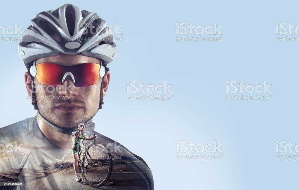 Sport. Professional road cyclist portrait. stock photo
