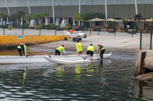 Sport Rowing in Guanabara Bay, Rio de Janeiro