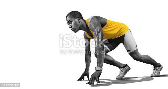 istock Sport. Runner on the start. Isolated 826255362