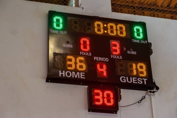 Sport scoreboard showing game result at a local sport arena Sport scoreboard showing game result at a local sport arena scoring stock pictures, royalty-free photos & images