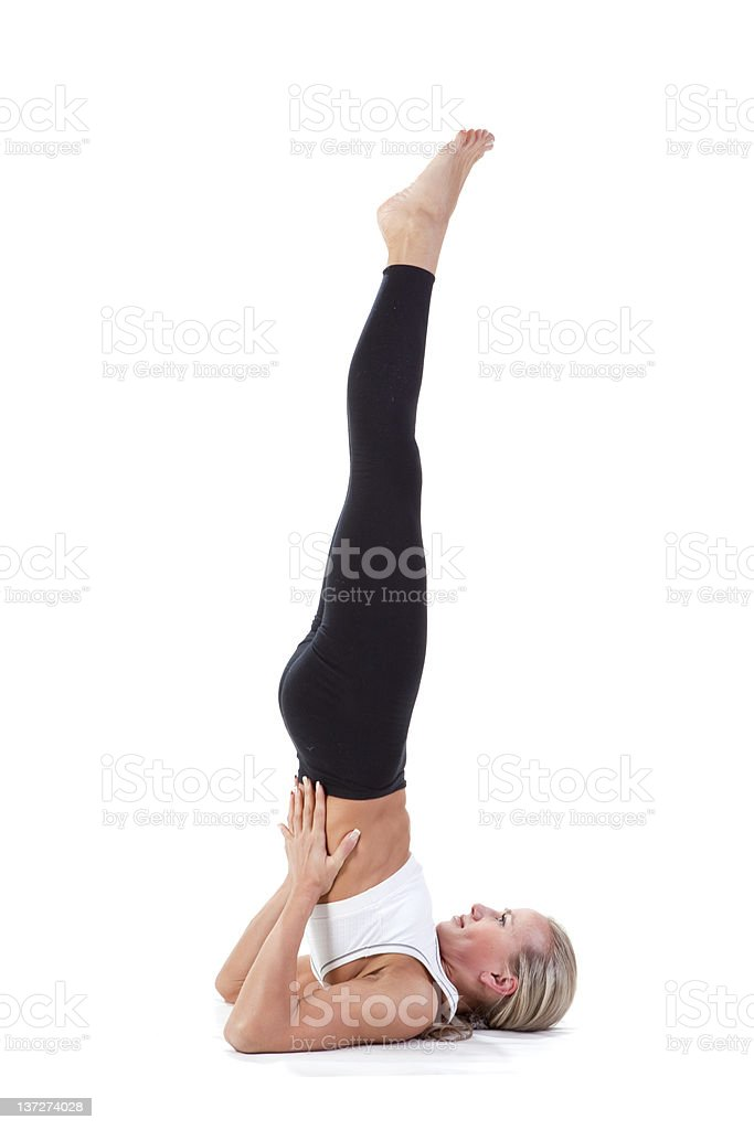 Sport Series: yoga.Shoulder Stand. stock photo