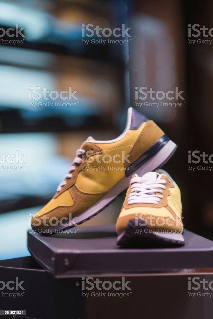 Sport shoes in a store Lizenzfreies stock-foto