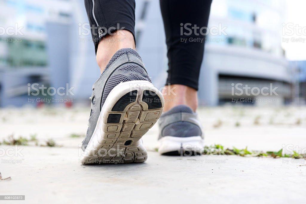 Sport shoes walking outside stock photo