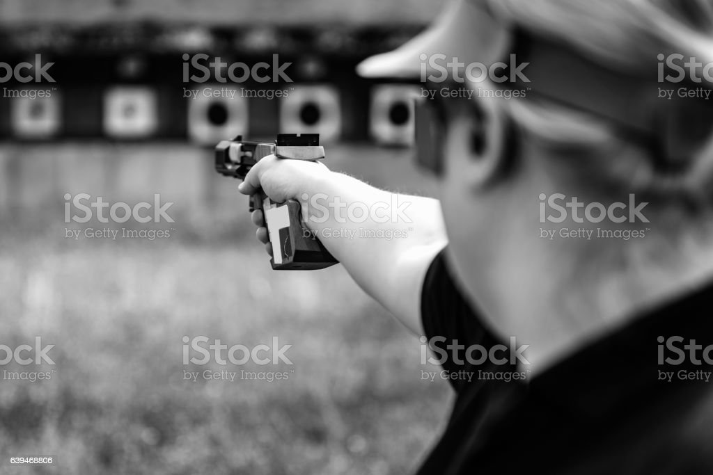 Sport shooting at the range stock photo