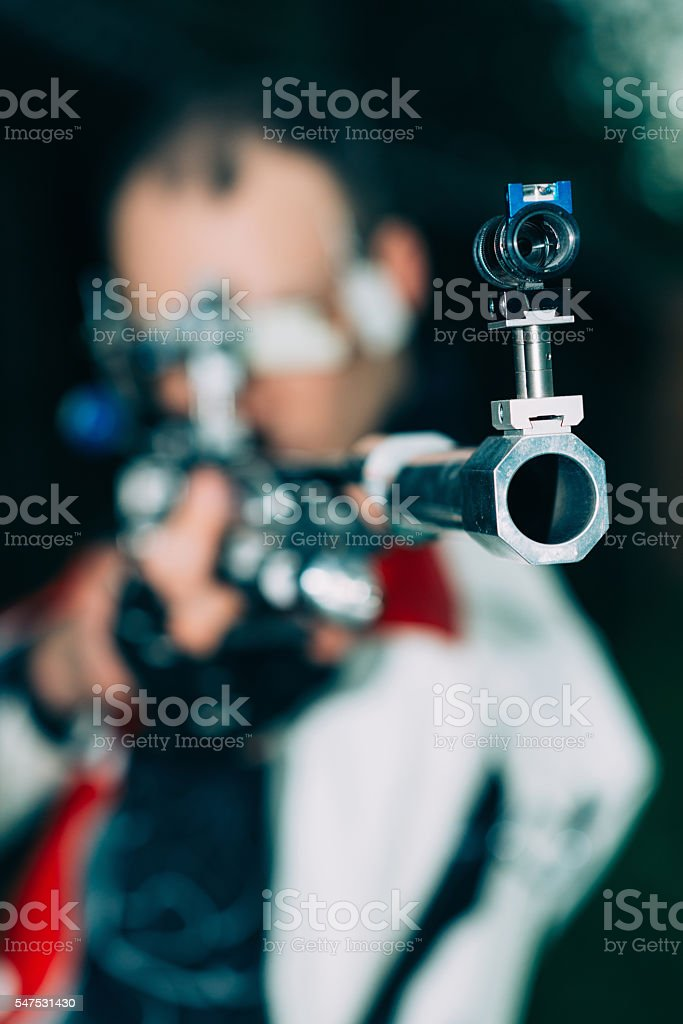 Sport shooting with free rifle stock photo