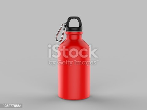 852024650istockphoto Sport sipper bottles for water isolated on grey background for mock up and template design. White blank bottle 3d render illustration. 1032778884
