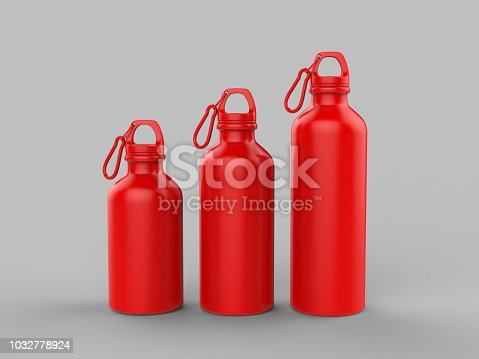 852024650istockphoto Sport sipper bottles for water isolated on grey background for mock up and template design. White blank bottle 3d render illustration. 1032778924