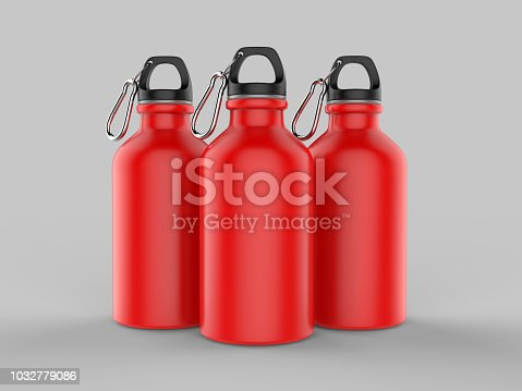 852024650istockphoto Sport sipper bottles for water isolated on grey background for mock up and template design. White blank bottle 3d render illustration. 1032779086