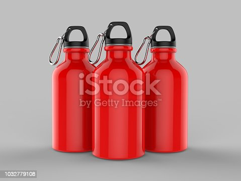 852024650istockphoto Sport sipper bottles for water isolated on grey background for mock up and template design. White blank bottle 3d render illustration. 1032779108