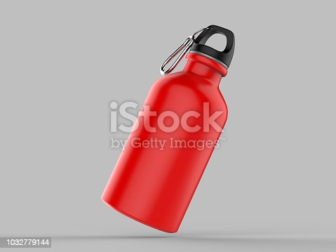 852024650istockphoto Sport sipper bottles for water isolated on grey background for mock up and template design. White blank bottle 3d render illustration. 1032779144