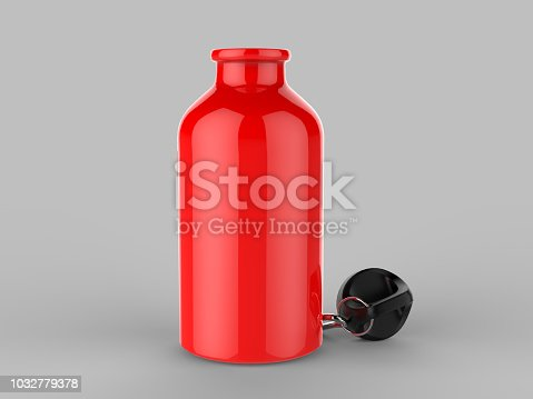 852024650istockphoto Sport sipper bottles for water isolated on grey background for mock up and template design. White blank bottle 3d render illustration. 1032779378
