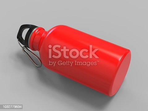 852024650istockphoto Sport sipper bottles for water isolated on grey background for mock up and template design. White blank bottle 3d render illustration. 1032779534