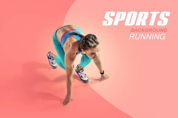 運動。衝刺器開始。孤立的運動員跑步者。剪影。 - 四肢 身體部份 個照片及圖片檔