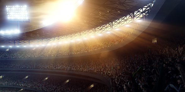 Panoramic view of sport stadium or arena tribunes with crowd on evening. Stadium seating stretches across the middle portion of the image, and the seats are filled with spectators. The image is fully made in 3D.
