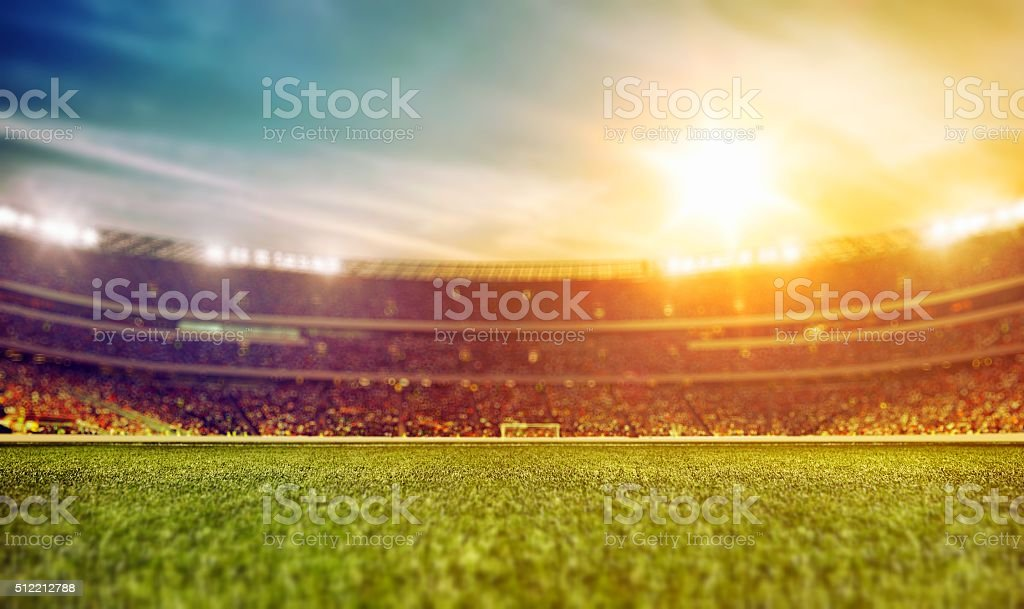 Sport stadium with grass stock photo