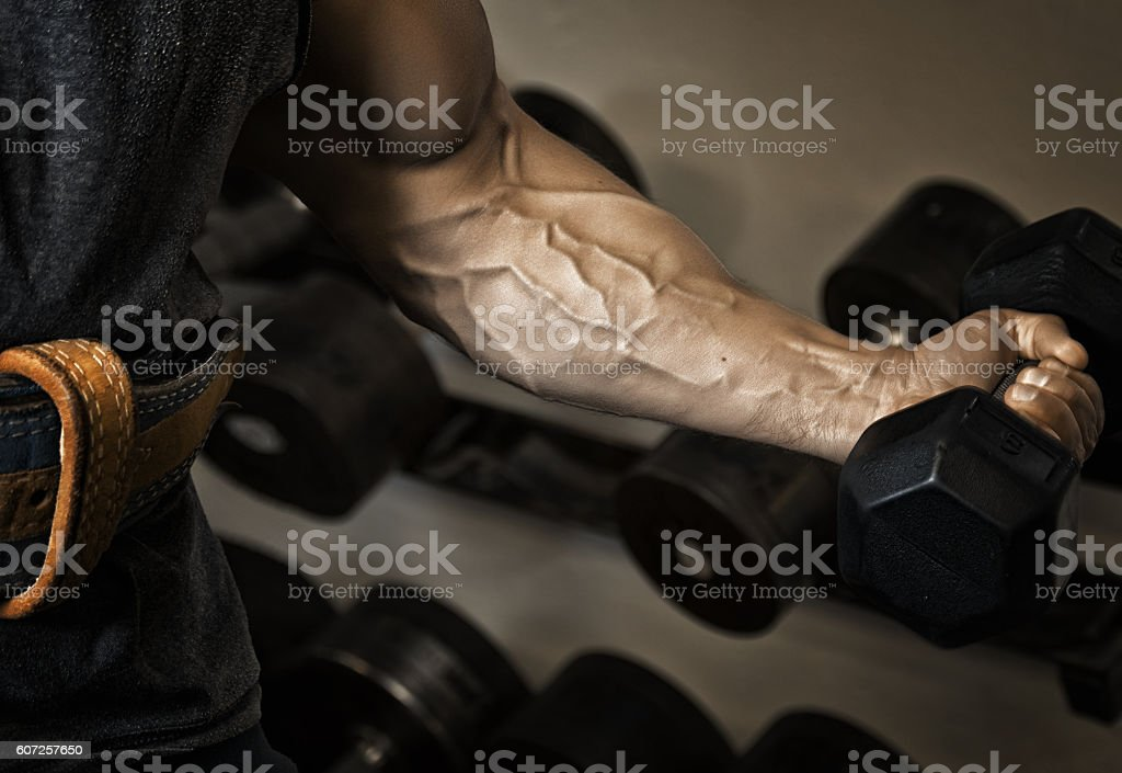 Sport. Strong athlete holding a dumbbell in his muscular arm stock photo