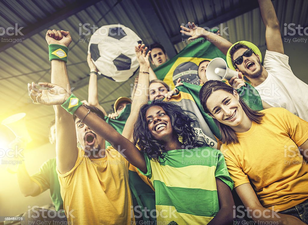 Sport supporters: fans of the Brazilian team royalty-free stock photo
