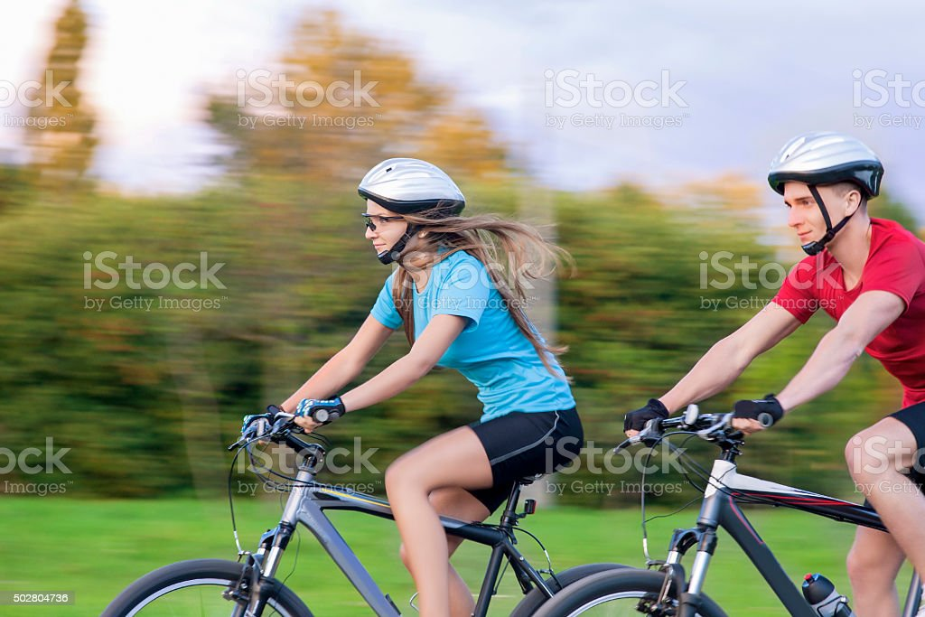 Sport Themes: Portrait of Young Sportive caucasian Couple Outdoo stock photo