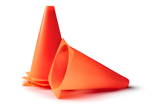 Training Cones Isolated on White Background. More sport and fitness equipment can be found in my portfolio. Please have a look