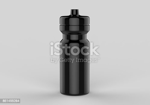 istock Sport water sipper white blank plastic bottles for water isolated on grey background for mock up and template design. White blank bottle 3d render illustration. 851455264