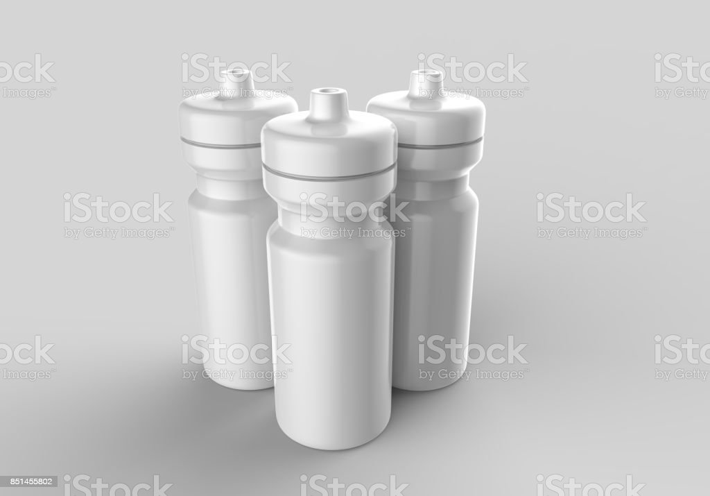 Sport water sipper white blank plastic bottles for water isolated on grey background for mock up and template design. White blank bottle 3d render illustration. stock photo