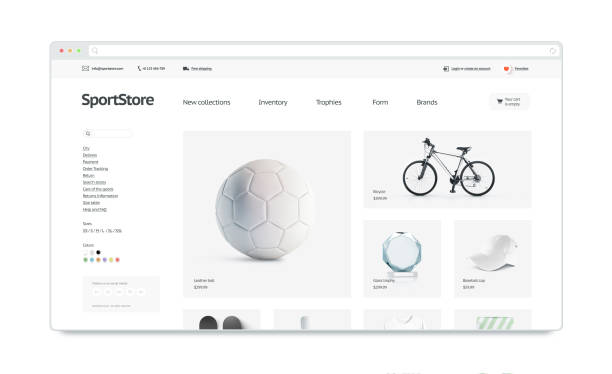 Sport webstore site template mock up isolated stock photo