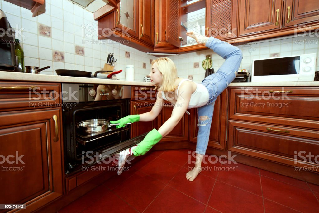 Sport while cooking. stock photo