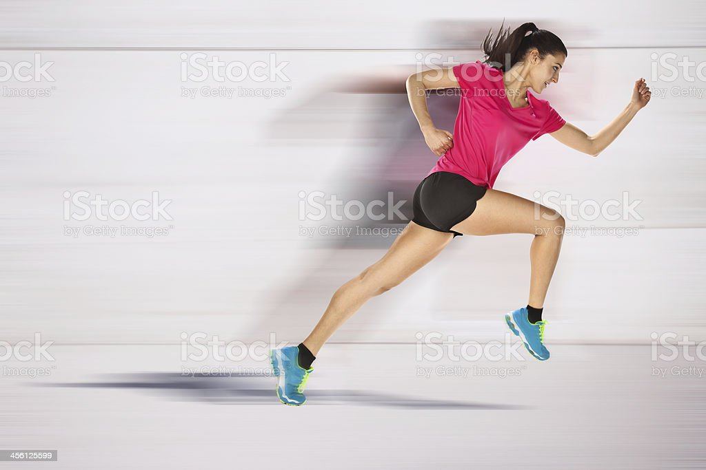 sport woman starting running. Speed effect. stock photo