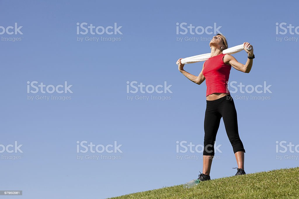 sport woman with a towel royalty-free stock photo