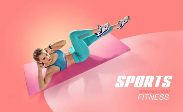 Sport. Young fit female doing abdominal press twisting. Isolated fitness  Athlete. Silhouette.