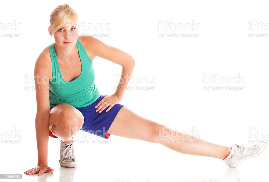 Sport Young woman doing exercise isolated on white royalty-free stock photo