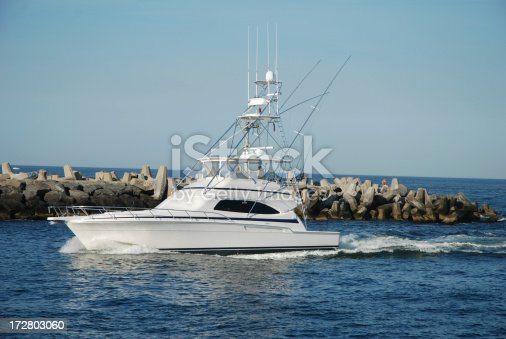 sportfishing boat coming in from ocean at barneget new jersey.