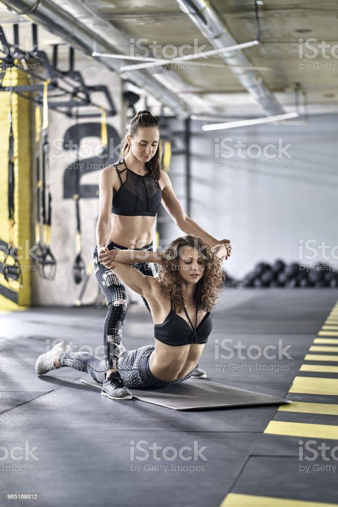 Sportive girls training in gym zbiór zdjęć royalty-free