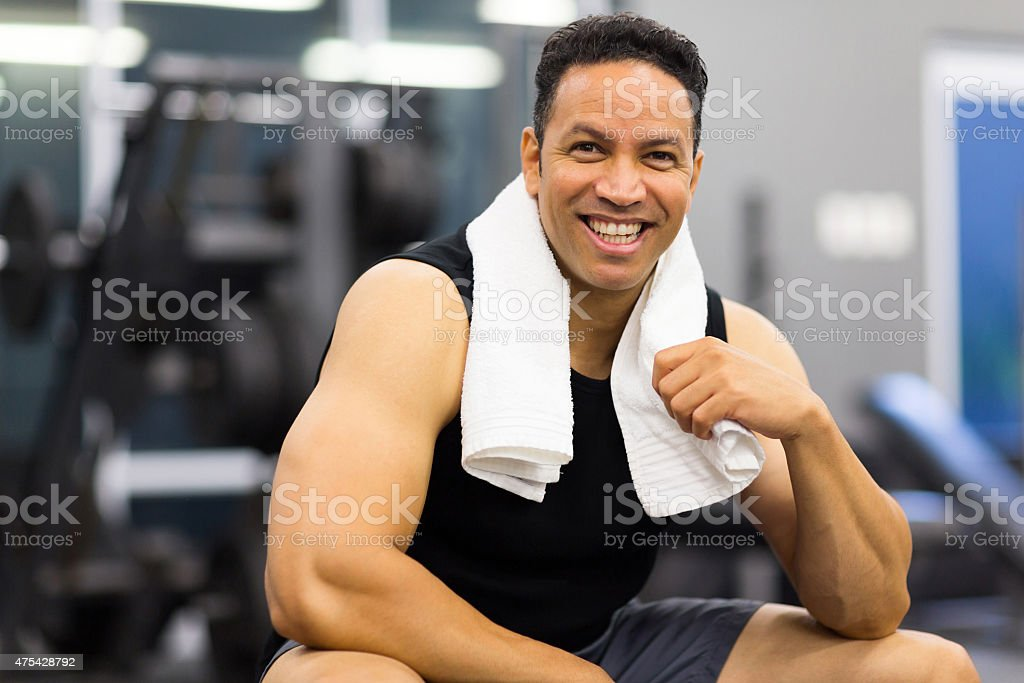 sportive man in gym portrait of handsome sportive man in gym 2015 Stock Photo