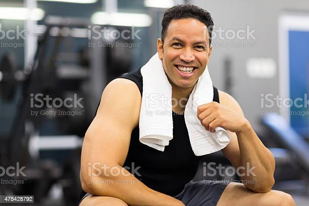 Sportive Man In Gym Stock Photo - Download Image Now