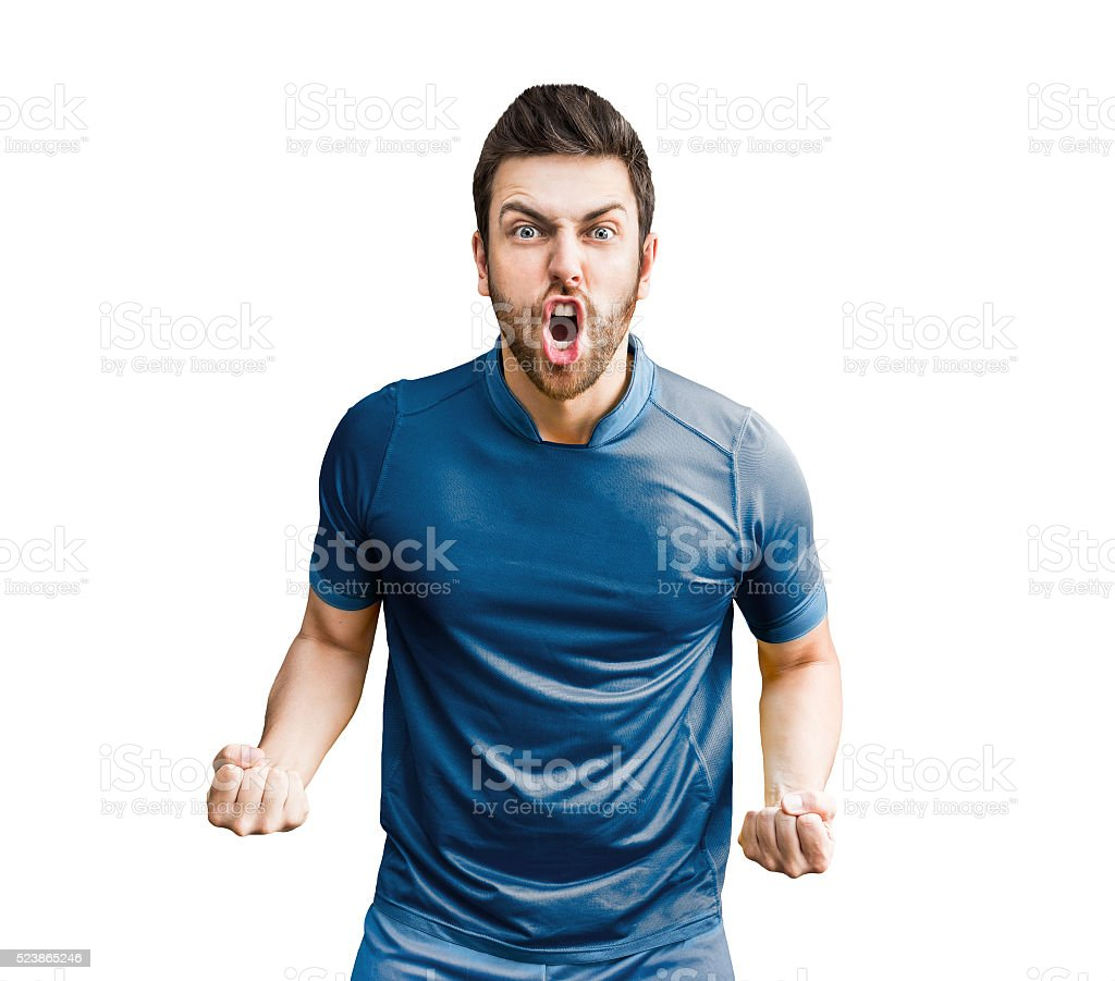 Sportive man on blue uniform stock photo