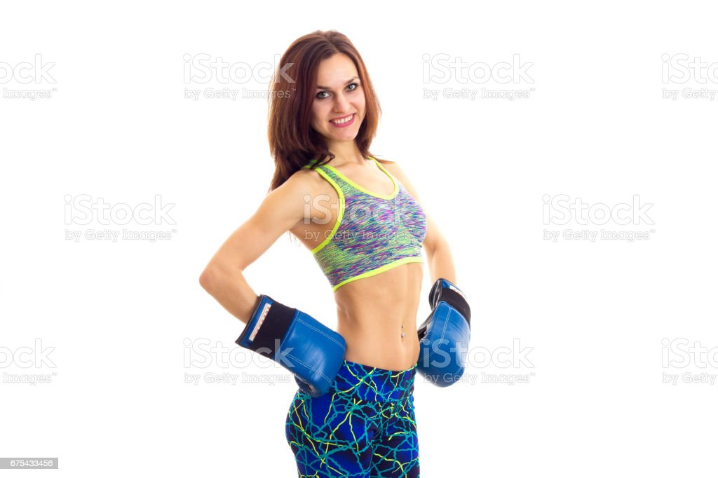 Sportive woman in boxing gloves photo libre de droits