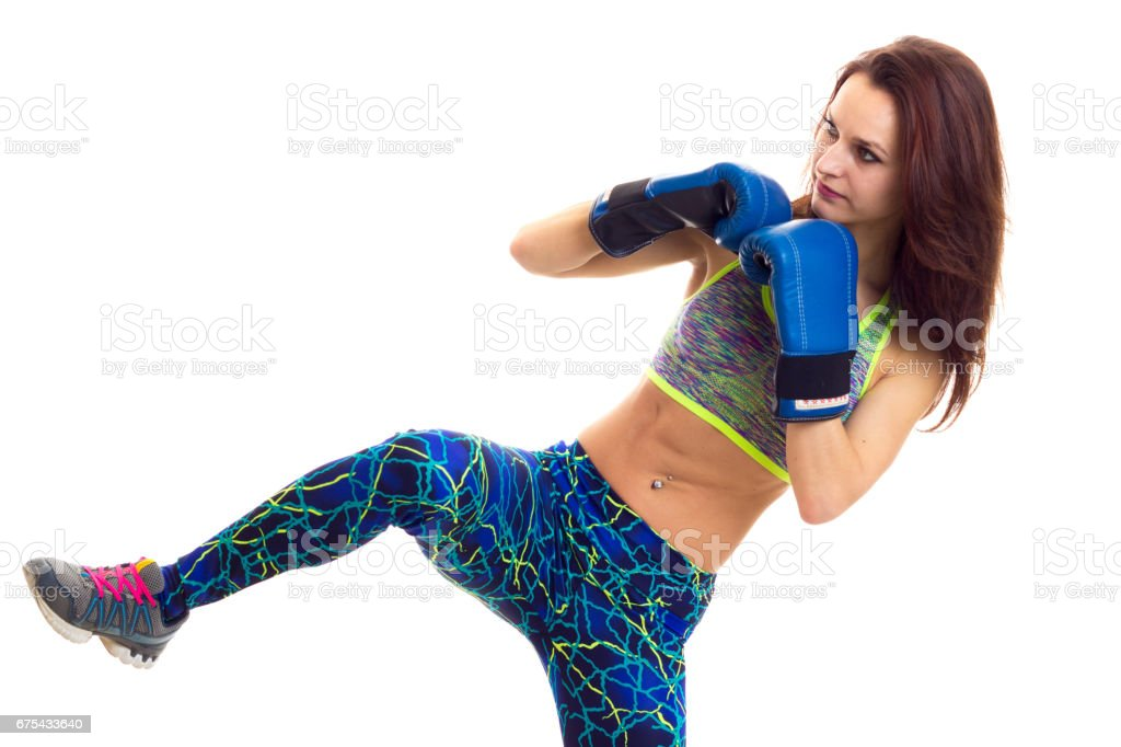 Sportive woman in boxing gloves royalty-free stock photo