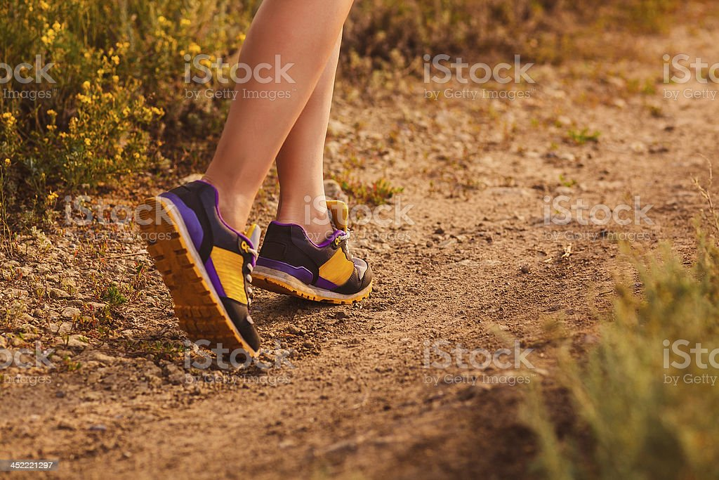 sports a shoes female large legs running, exercising and walking royalty-free stock photo